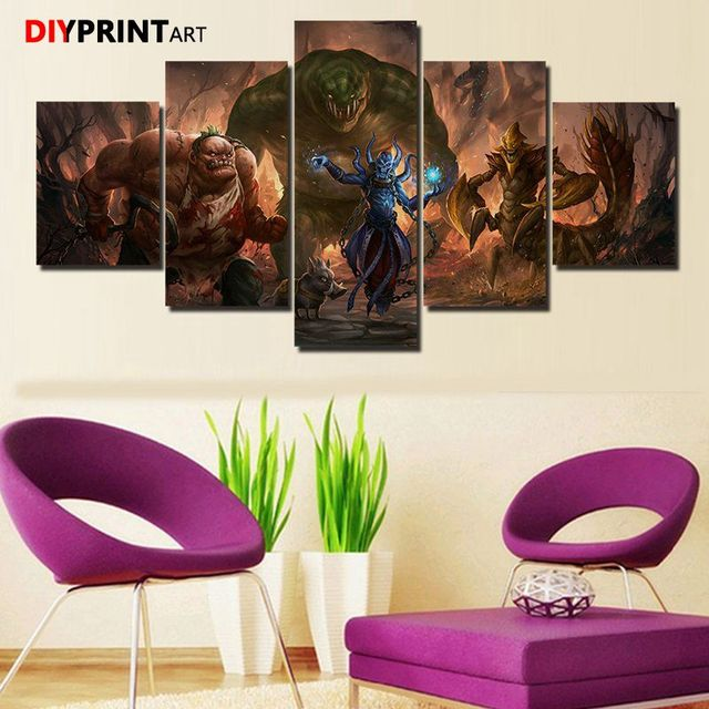 DOTA 2 Leviathan 5 Panels Game Characters Canvas Art Wall Pictures for Living Room A1034 3