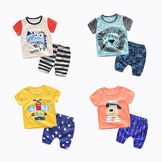 Children's Garment Summer 2 Set New Pattern Cartoon Short Sleeve T-Shirt Undershirt  Unlined Upper Shorts Leisure Time