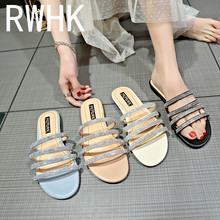 RWHK 2019 summer new slippers female rhinestone Korean flat with non-slip wild beach B139