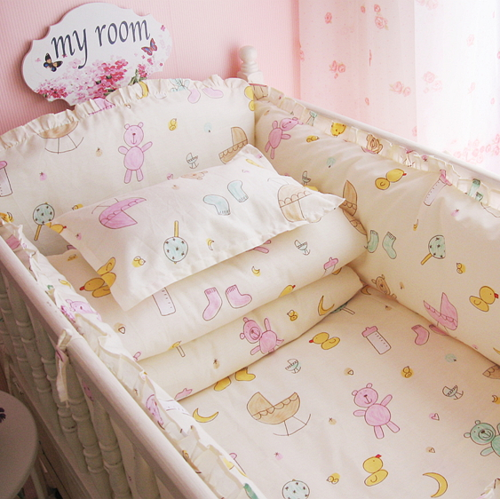 Baby bed bumper 6pcs / set baby bedding set cot crib bumpers bed sheet 100% cotton bed around protection