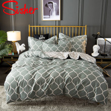 Sisher Geometric Print Bedding Sets High Quality Black Grey Duvet Cover For Adult Funda Edredon Nordico