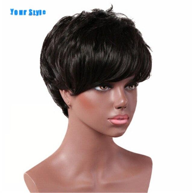Twój styl syntetyczne krótkie fryzura pixie peruki z grzywką dla czarnych kobiet naturalne włosy damskie pełna peruka kobiece żaroodporne włókna