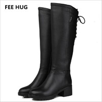 FEE HUG 30 Winter Woman S Boots Natural Wool Genuine Leather Women Riding Boot Women Winter