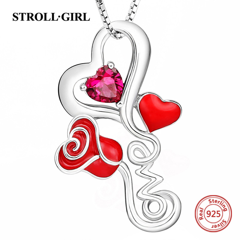 New arrival 925 sterling silver love heart rose chain pendant necklace with enamel&CZ diy fashion jewelry factory supply giftS 14k enamel heart angel pendant jewelryweb
