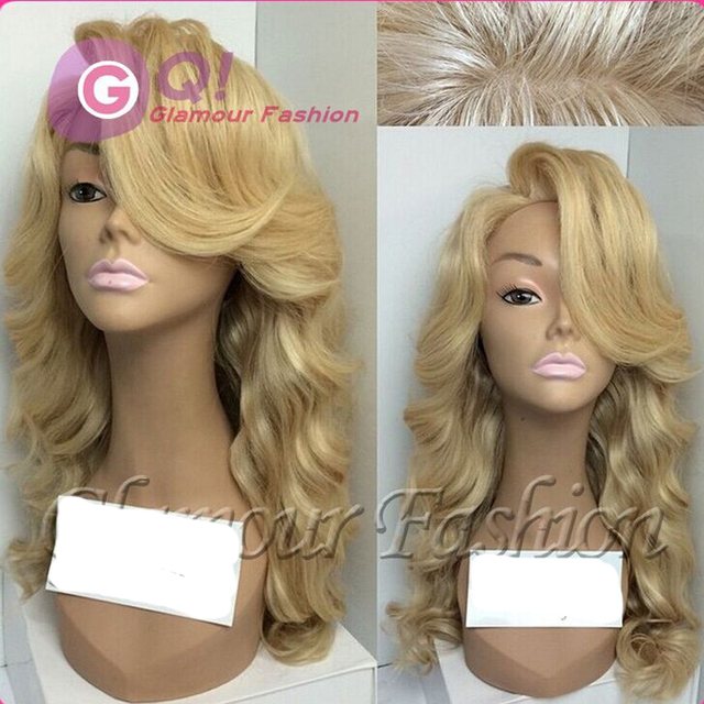 Platinum Blonde Wig Human Hair Lace Wig 27 Wavy Blonde Full Lace