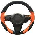 Dg orange couro preto de camurça tampa da roda de direcção do carro para kia k5 optima 2014 2015