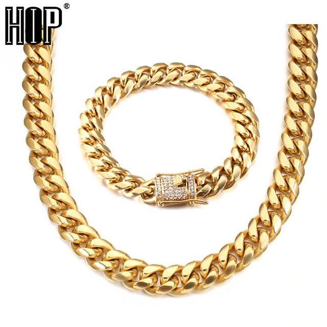 23c24489ca0d 1 set 12 MM collar + pulsera Hip Hop helado de diamantes imitación broche  oro 316L acero inoxidable cubano cadena collares para la joyería los hombres