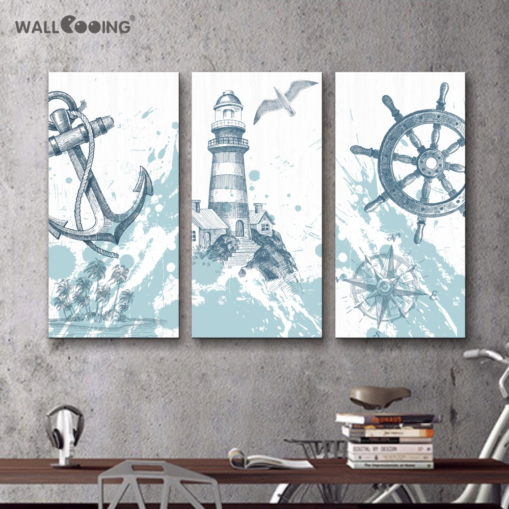 canvas prints 3 pcs image canvas Seascape lighthouse house decoration painting the art modern oil print the image on the screen