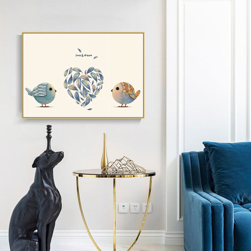 Modern Cartoon Animals Posters and Prints Wall Art Canvas Painting Cute Birds Pictures For Living Room Nordic Decor No Frame in Painting Calligraphy from Home Garden