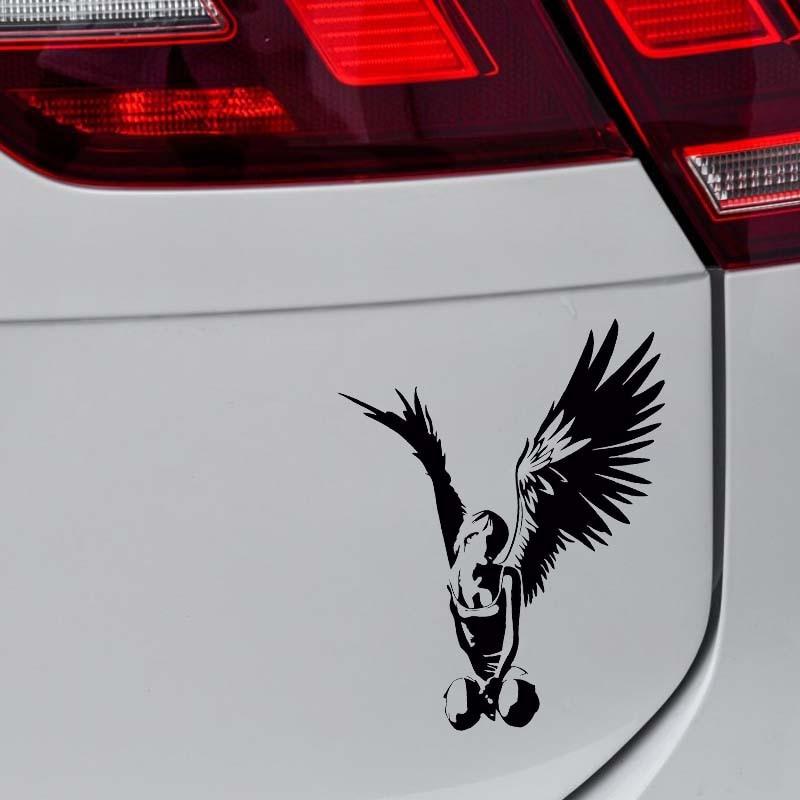 YJZT 14.3*11.7CM Beautiful Elegant Angel Car Sticker High Quality Covering The Body Decal Black/Silver C20-1308