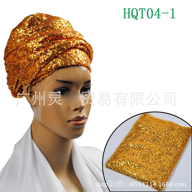 Huafurong Hot Stamping Sequined African Head Wraps Gold Headtie For Women  Sego Gele Head Tie Wedding Party Headscarf -in Africa Clothing from Novelty  ... 3c6145b0d5b