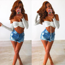 3830857d01 Off Shoulder Ladies Crop Top Long Sleeve Womens Sexy Summer Blouse Femme 2018  Bralette Top Casual Chiffon Shirt Blusas Mujer