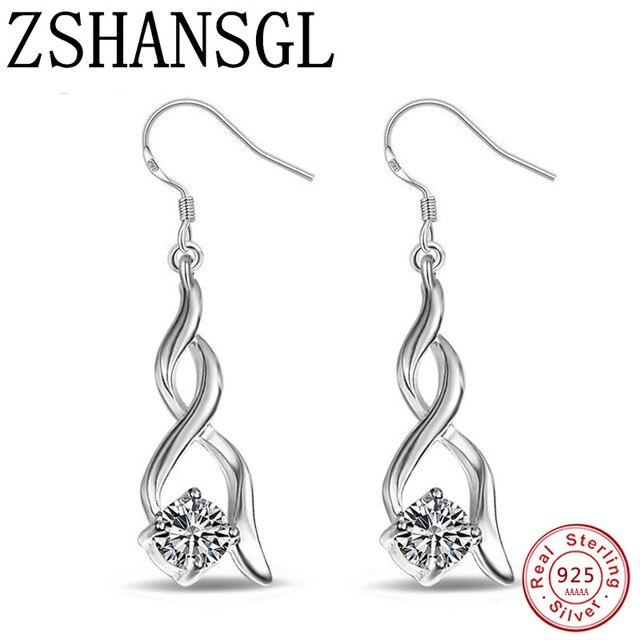 Thời trang 925 Sterling Silver Bạc AAA Zircon Bông Tai Hàn Quốc phong cách Twisted shape Stud Bông Tai Bông Tai Dài Tốt Nhất Món Quà Của Bạn đồ trang sức