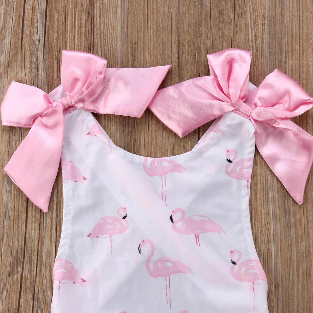 Купальный костюм для маленьких девочек, купальник с фламинго, цельное пляжное бикини