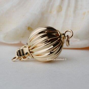 Hebilla sólida de la caja de la bola corrugada del cierre del oro amarillo/blanco 14k Au585 14ct oro para la pulsera del collar de la perla hallazgos de la joyería