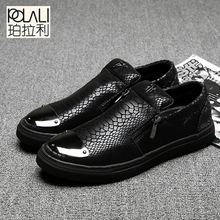 Casual Shoes 2016 Fashion Genuine Leather  Loafers Moccasins Slip on Flats  Shoes Black golden Sliver 3 Colors