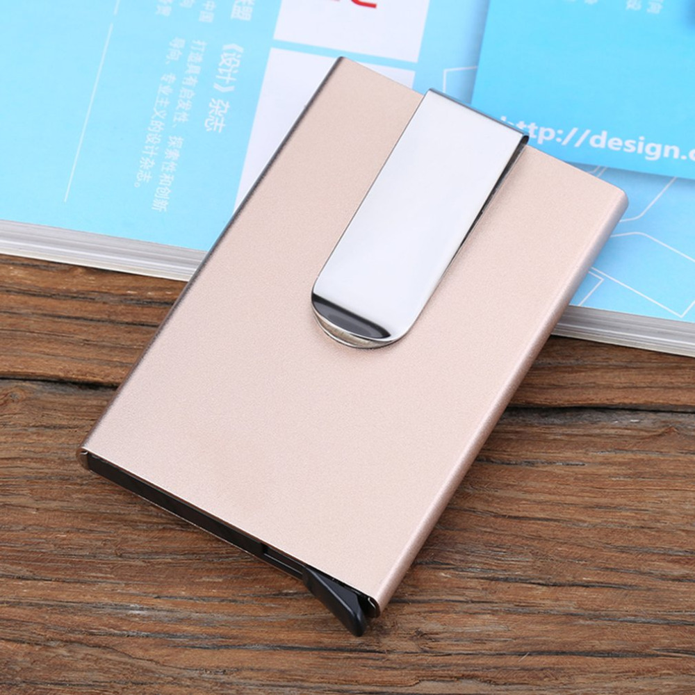 Gold Aluminum Alloy Credit Card Box Wallet Credit Card Bank Card Box Antimagnetic Aluminum Box With Buckle Card Box