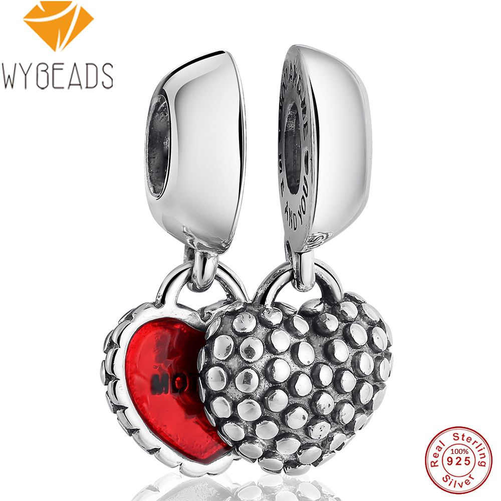 WYBEADS 100% 925 Sterling Silver Charms Monther Daughter Pendant European Bead For Snake Chain Bracelet Original Jewelry Making