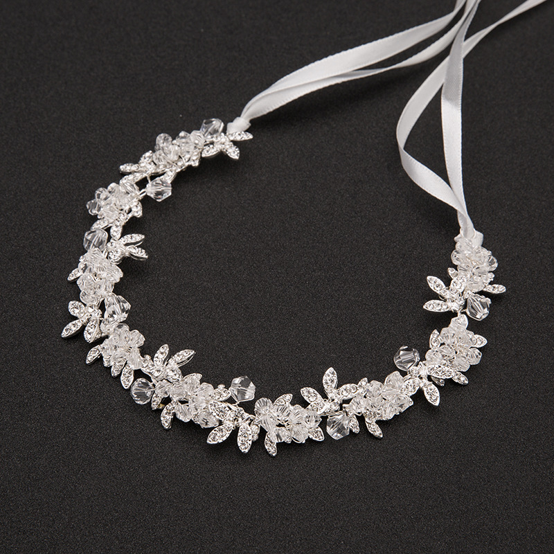 Sparkling 30 cm Crystal Bridal Headbands for Women Silver Rhinestones Wedding Hair Accessories Handmade Hair Jewelry E160302-16