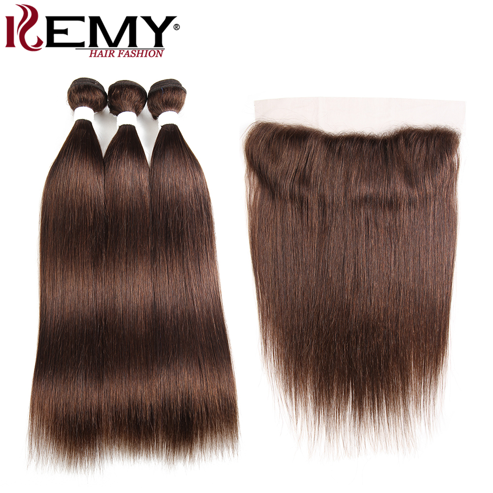 Medium Brown Brazilian Straight Human Hair Bundles With Frontal 13*4 KEMY HAIR Pre-Colored 100% Non Remy Human Hair Bundles