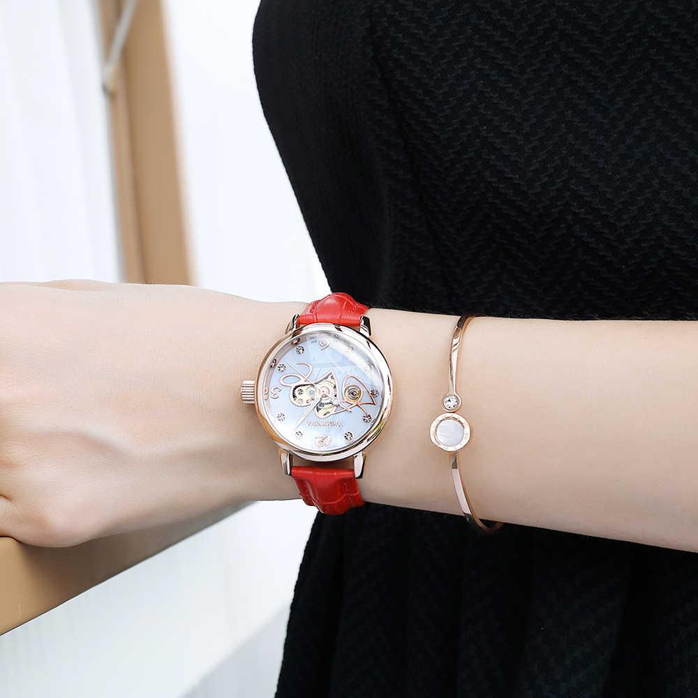 Femmes automatique montre mécanique de luxe marque en cuir dames montre strass squelette montre-bracelet Senhoras Assistir Reloj Mujer