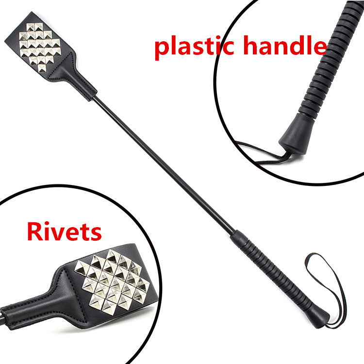 53CM Rivets Paddle Whip PU Leather Sex Whip Flogger Riding Crop Whip Aids Spanking BDSM Paddle Whip Sex Products For Couples