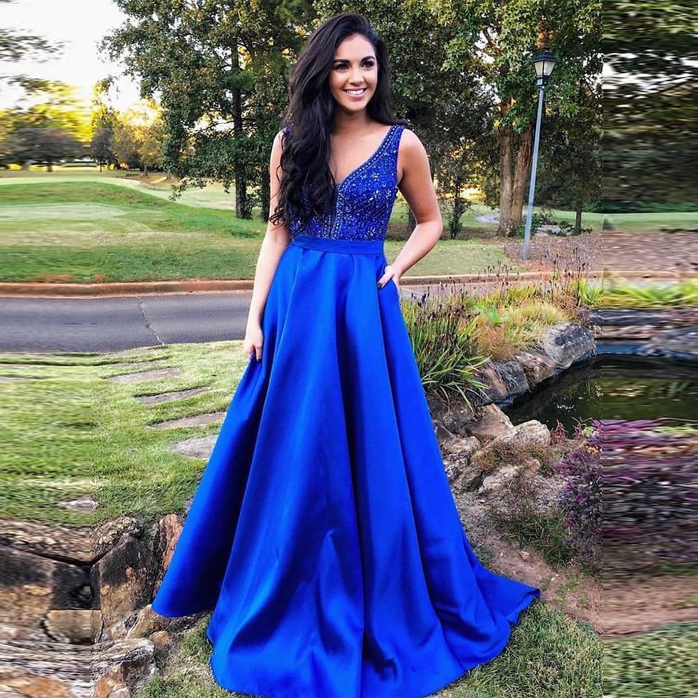Ange marié bleu Royal Satin longues robes de bal avec poches perlées col en V sangles robes de soirée formelles 2019 abiti di promenade