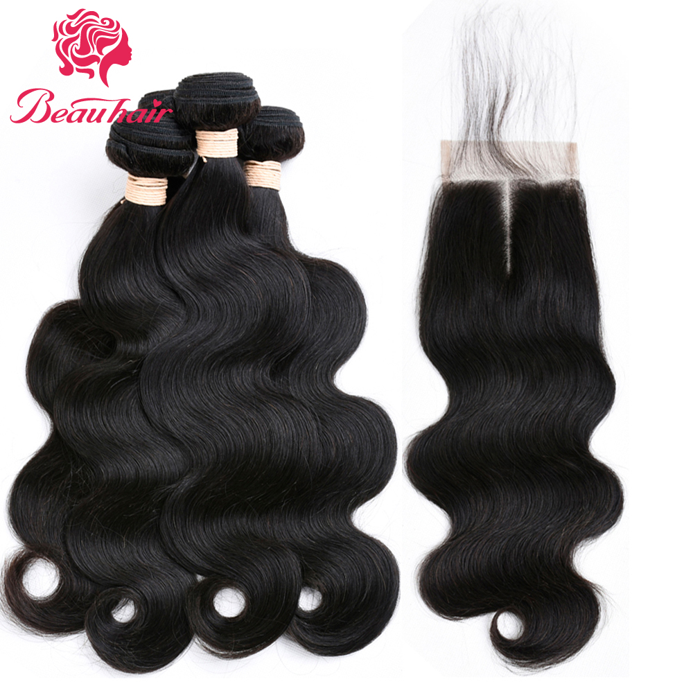 Beauhair Malaysian Body Wave Bundles With Closure Human Hair 4*4 Lace Closure 4 Bundles  ...