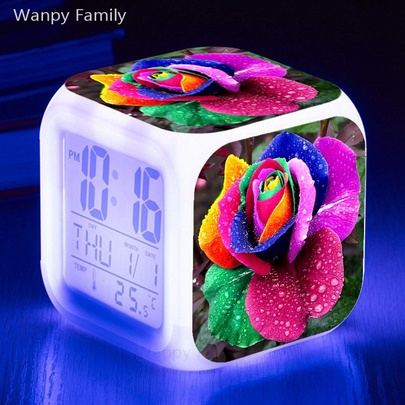 Coloured rose flower Alarm Clock 7 Color Change Glowing LED Digital Kids room Multi-fonction Fashion Watches