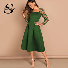 Sheinside Green Flower Applique Mesh Sleeve Box Pleated Dress For Women Square Neck Evening Party Dresses 2019 Lady Spring Dress