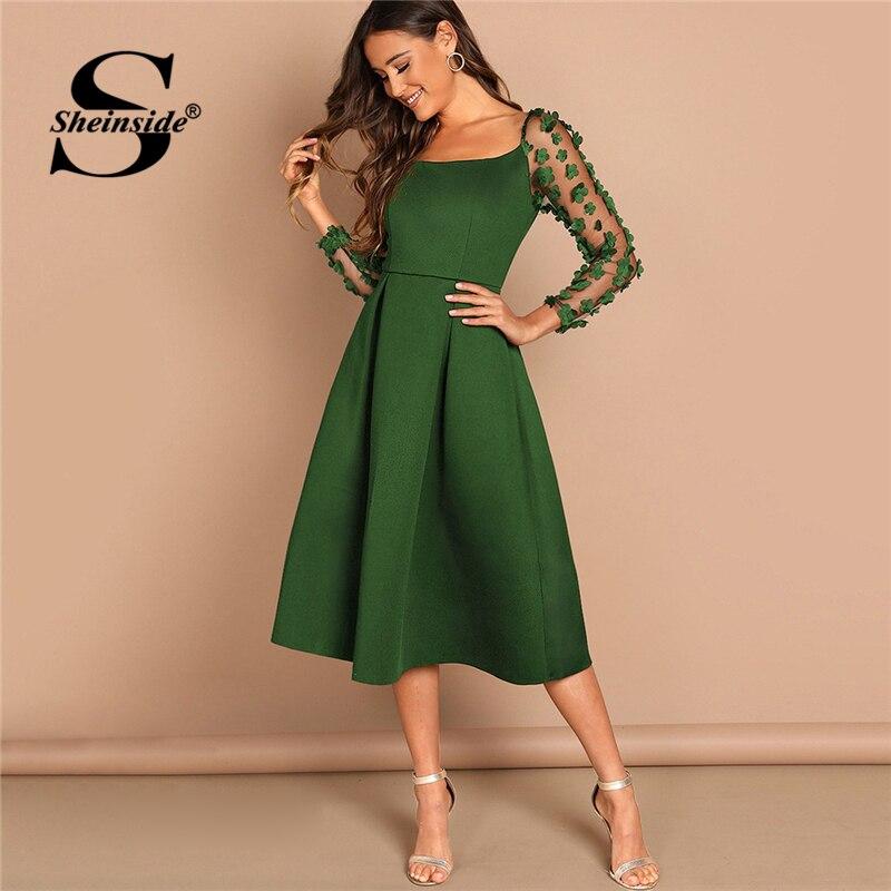 Sheinside vert fleur Applique maille manches boîte robe plissée pour les femmes col carré robes de soirée 2019 dame printemps robe