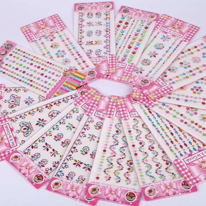 DIY Sticker Pack Kids Toys Stitch-Gem Crystal Diamond Self-Adhesive Hand-Pasted Label