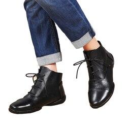 VALLU 2018 À La Main Femmes Chaussures Plat Bottes En Cuir de Vache Lace Up Cuir Véritable Mère Cheville Bottes Plus La Taille 41