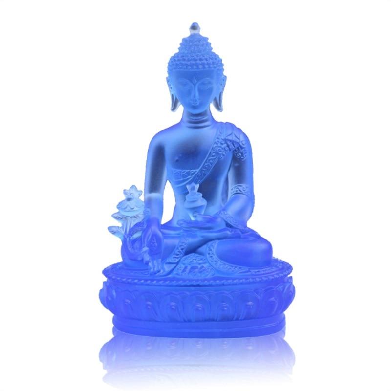 Barevná Claze Buddha socha Fengshui Bůh bohatství Pryskyřice - Dekorace interiéru - Fotografie 3
