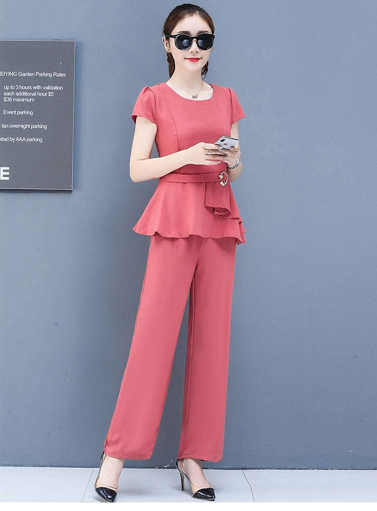 2019 Summer Chiffon 2 Two Piece Sets Outfits Women Plus Size Short Sleeve Tunics Tops And Pants Suits Office Elegant Korean Sets 58