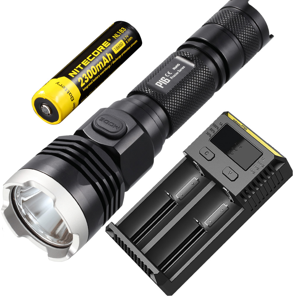 Remise livraison gratuite NITECORE P16 Cree T6 lampe de poche LED chasse en plein air recherche sauvetage torche tactique 18650 batterie Rechargeable