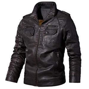 Image 5 - Winter men jacket High quality brand  casual Outerwear Pu leather jacket men Warm fleece men jacket coat brand clothing