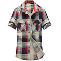 Free shipping Summer Style Plaid Men Short Sleeve Shirt Men's Slim Fit Casuals Shirts  Down Collar camisa masculina 58hfx