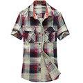 O envio gratuito de Verão Estilo Xadrez Homens Camisa de Manga Curta dos homens Slim Fit Camisas Casuais Para Baixo Colarinho camisa masculina 58hfx