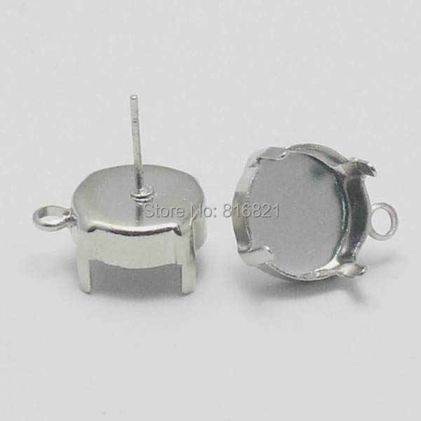 Blank Round Deep Wall 4 Prongs Pins Bezel cups with Loop stud Earrings Post Findings Cabochon Bases Settings Silver Plated