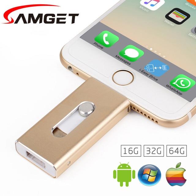 Samget Для iPhone 6 Plus 5S 7 puls ipad Металла Ручка привода HD memory stick Двойного назначения мобильный Otg Micro USB ФЛЭШ-Накопитель 32 ГБ 64 ГБ