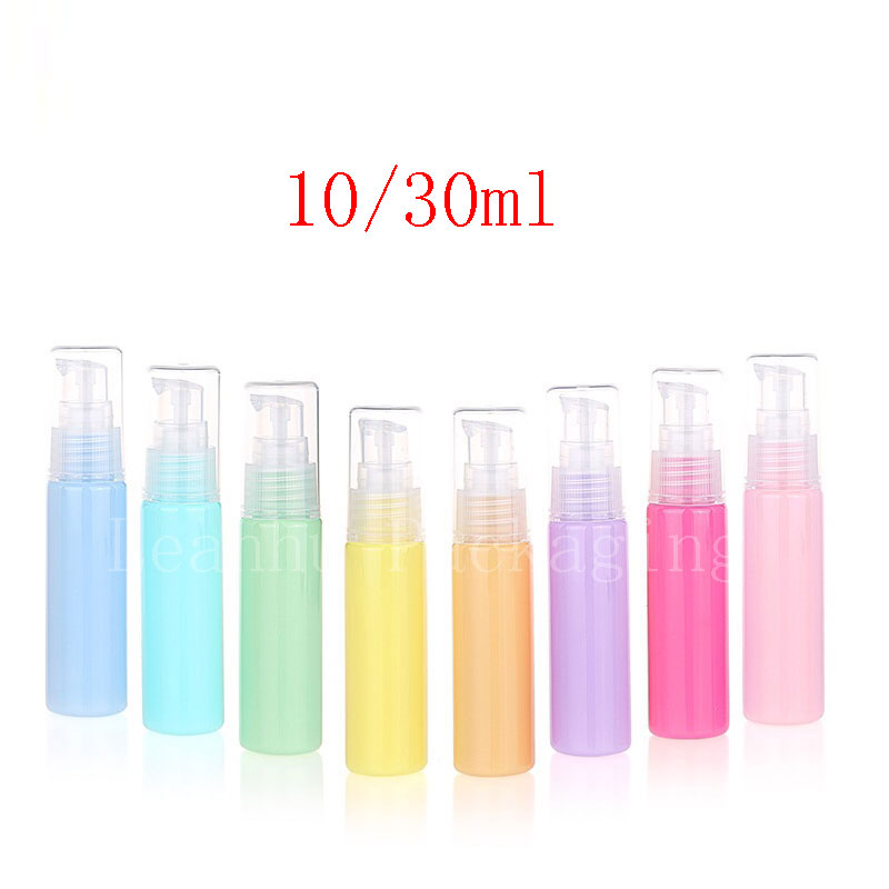11f26497d2a9 US $72.0  10ml 30ml Colored Plastic Cream Pump Bottles Cosmetic Packaging  Treatment Pump Container Personal Care Small Vial 100pc/lot-in Refillable  ...