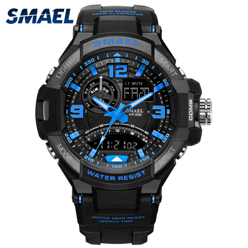 Men Chronograph Sports Watches SMAEL Brand 5ATM Water Proof Digital Outdoor Military Watch Men Alarm LED quartz Wristwatches