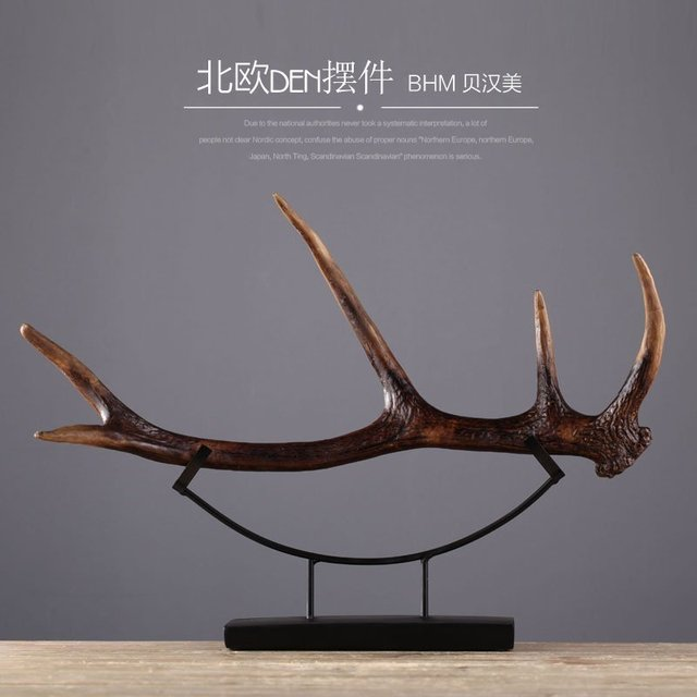 Nordic Creative Resin Deer Figurines Antlers Vintage Statue Home Decor  Crafts Room Decoration Objects Resin Animal