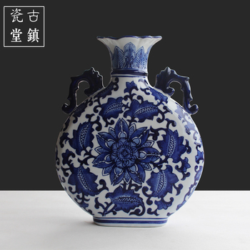 Jingdezhen ceramic vase ornaments Chinese living room antique blue and white porcelain hand-painted home furnishings decoration