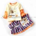 Новые 2014 весна осень девушки одежда комплект мальчик 100% хлопок мультфильм костюмы ребенок футболки + для детей брюки 2 шт. спортивный костюм