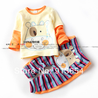 New 2014 Spring Autumn Girls Clothing Sets Baby Boy 100 Cotton Cartoon Suits Child T Shirts