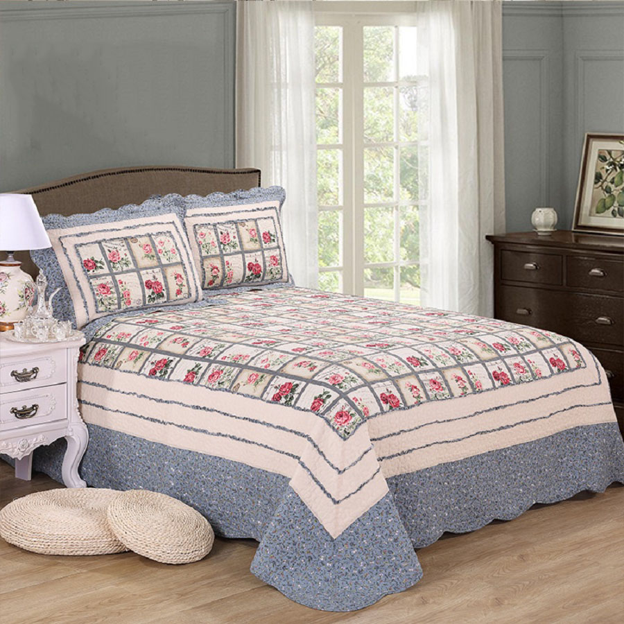 Quality Floral Quilt Set 3PCS/4pcs Quilted Bed spread Cotton Quilts Bed Covers Bedspread Duvet Cover King Size Bedding Coverlet ...