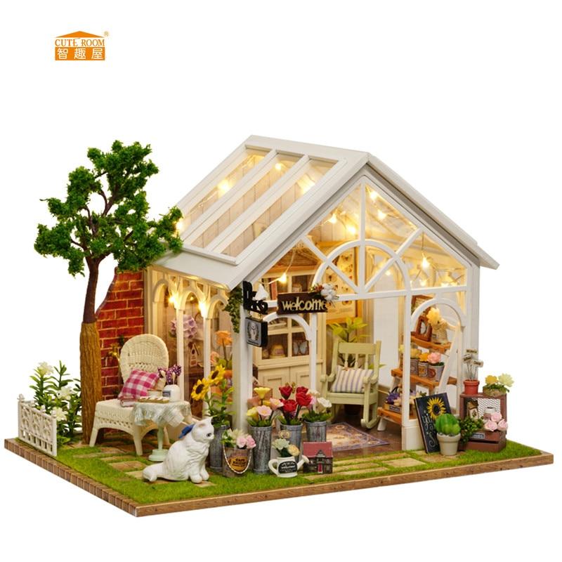 CARINO CAMERA Nuovo arrivo In Miniatura Casa di Bambola di Legno Con Mobili FAI DA TE Agitarsi Giocattoli Per I Bambini I Bambini Regalo Di Compleanno Serra