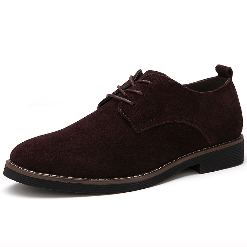 2019 Spring Suede Mens Shoes Casual Fashion British Shoes Men Classic Lace Up Derby Shoes For Male Vintage Footwear Plus Size 48